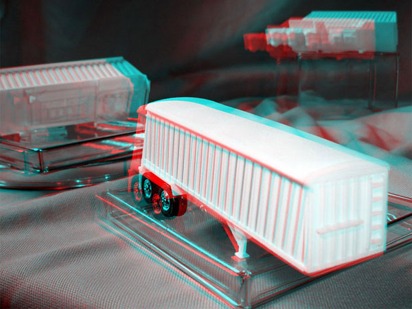 3D printed plastic prototype toy tractor trailer